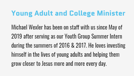 Young Adults and College Minister